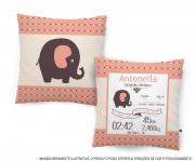 Almofada Dados do Nascimento - Elefante Menina