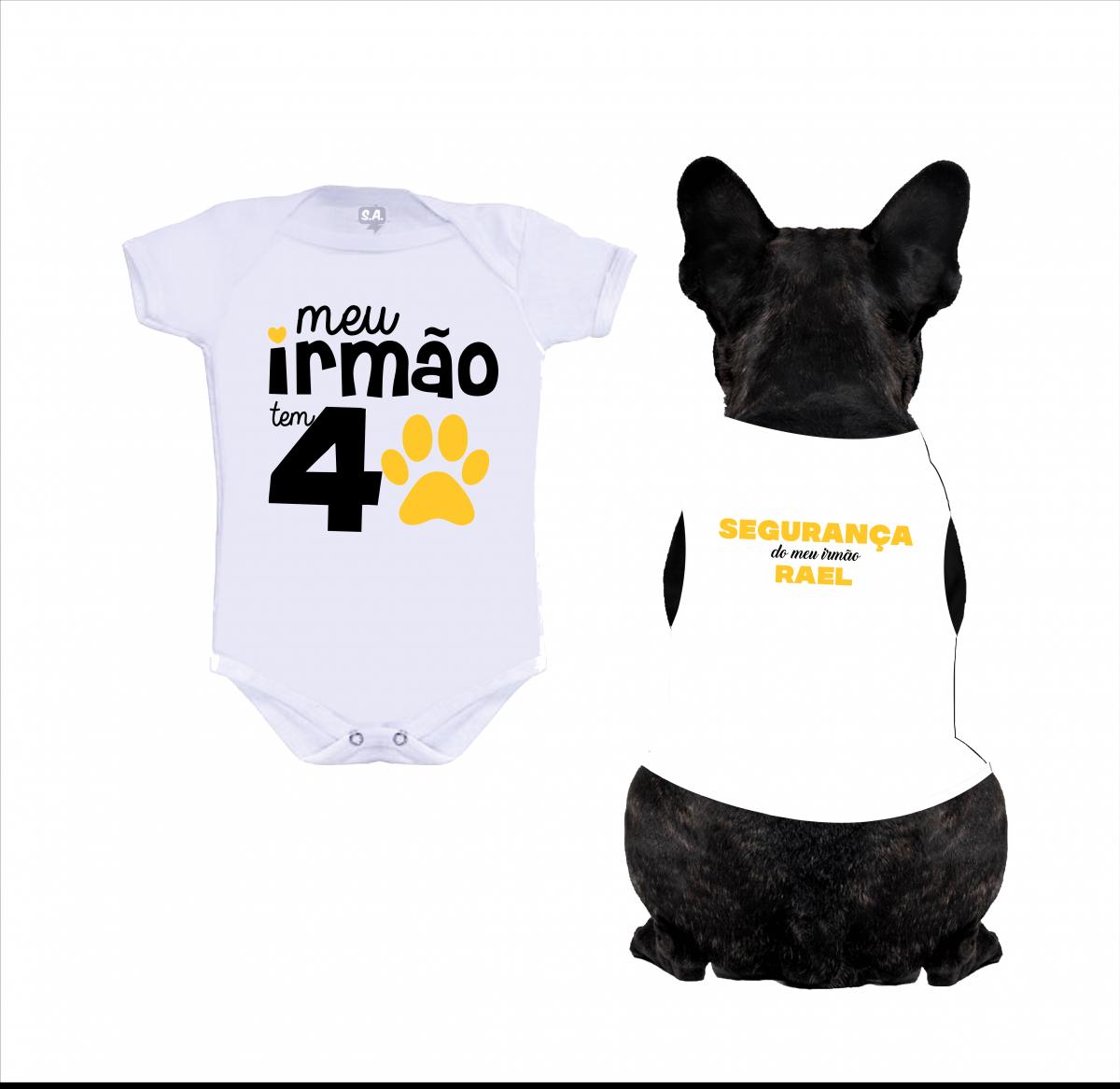 Body Bebê + Body para Cachorro Irmão Mais Velho Com Nome