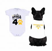 Body Bebê + Body para Cachorro Promovido A Irmã Mais Velha
