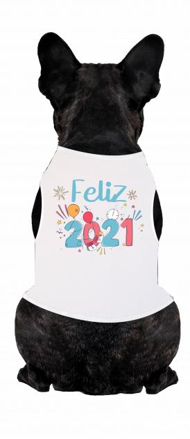 Body Para Cachorro Temático Ano Novo - Feliz 2021