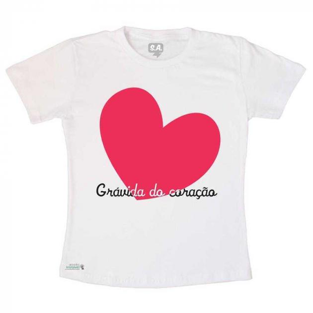 Camiseta Adulto Grávida do Coração