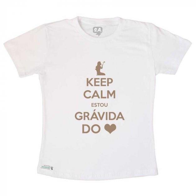 Camiseta Adulto Keep Calm Grávida do Coração