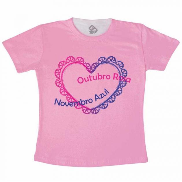 Camiseta Adulto - Outubro Rosa , Novembro Azul