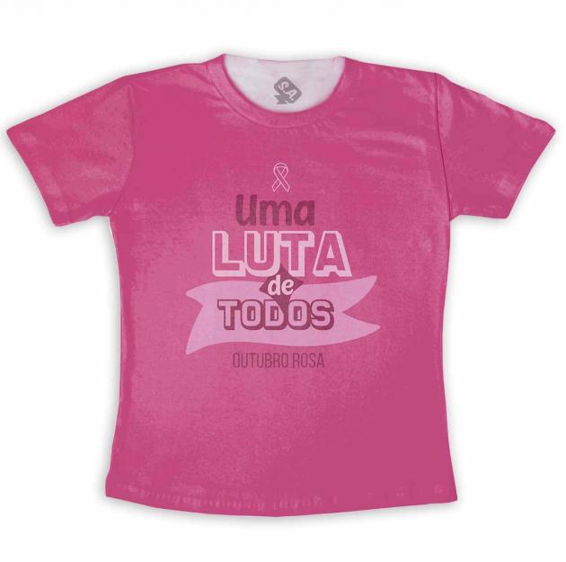 Camiseta Adulto Outubro Rosa Uma Luta De Todos