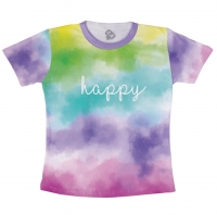 Camiseta Tie Dye Adulto Happy