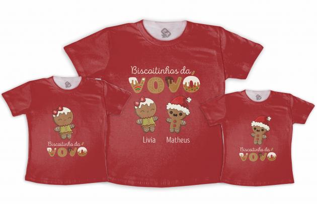 Kit Adulto e 2 Camisetas infantis  Biscoitinhos Da Vovó