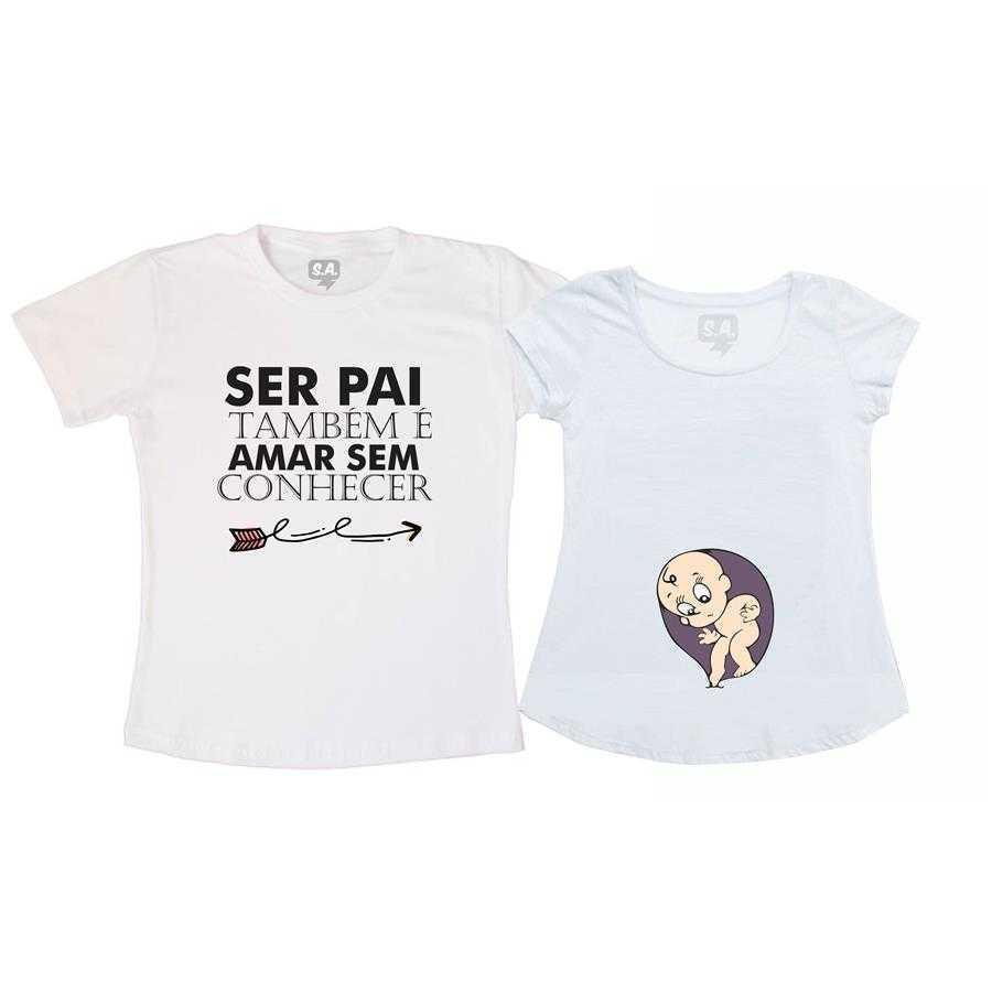 Kit Bata Gestante e Camiseta - Ser Pai é Amar Sem Conhecer