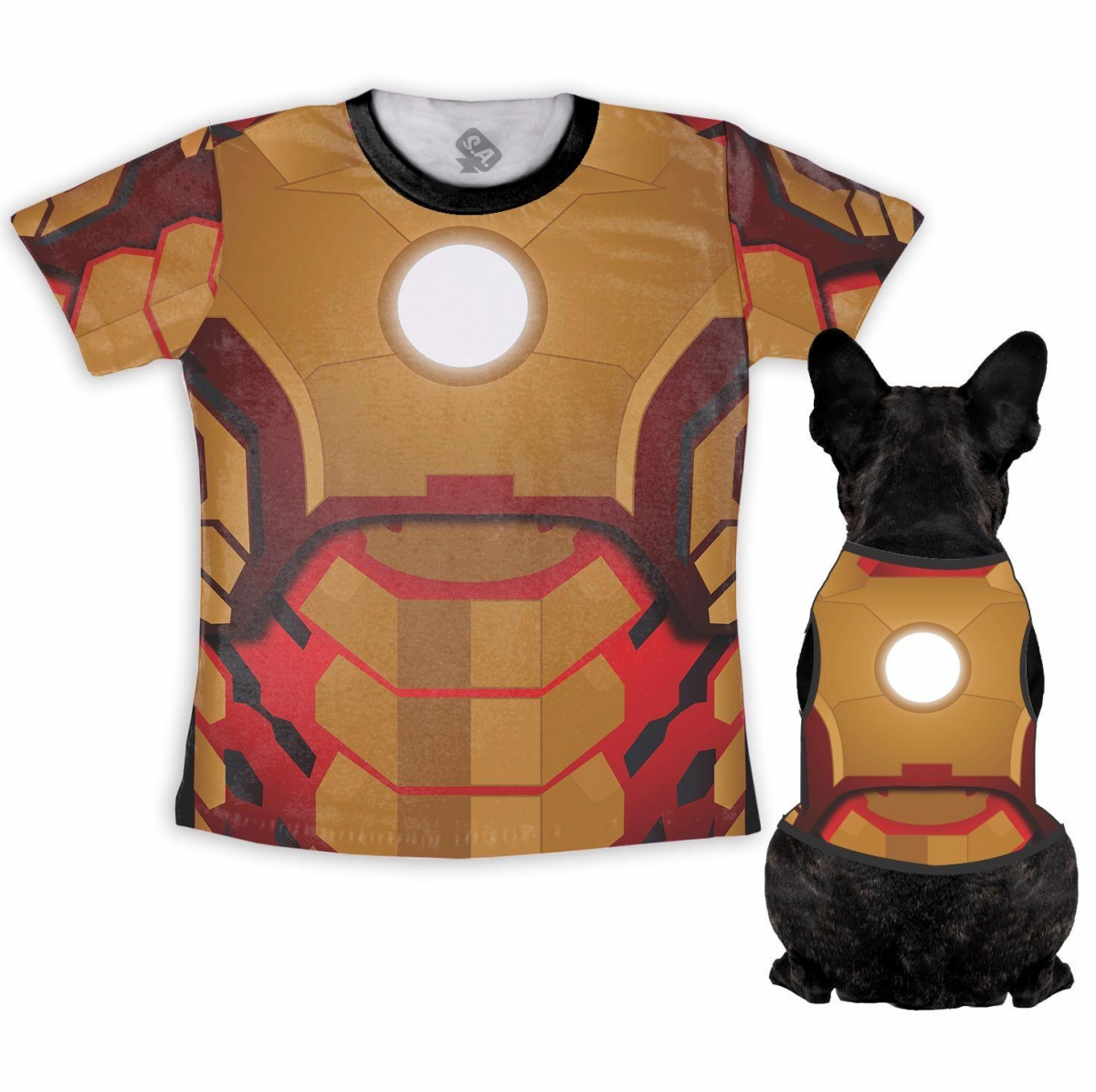 Kit Camiseta Dono + Body Pet Homem De Ferro