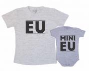 Kit Camiseta e Body Cinza - Mini Eu