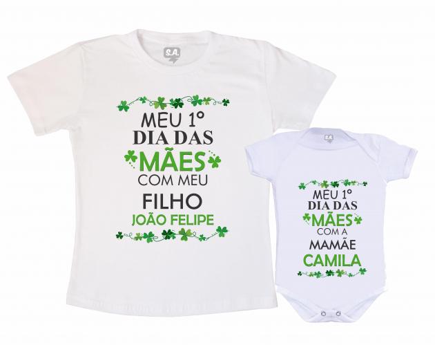 Kit Camiseta e body Primeiro Dia das Mães - Trevo