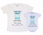 Kit Camiseta e body Primeiro Dia dos Pais -  primeiro dia dos pais com nome