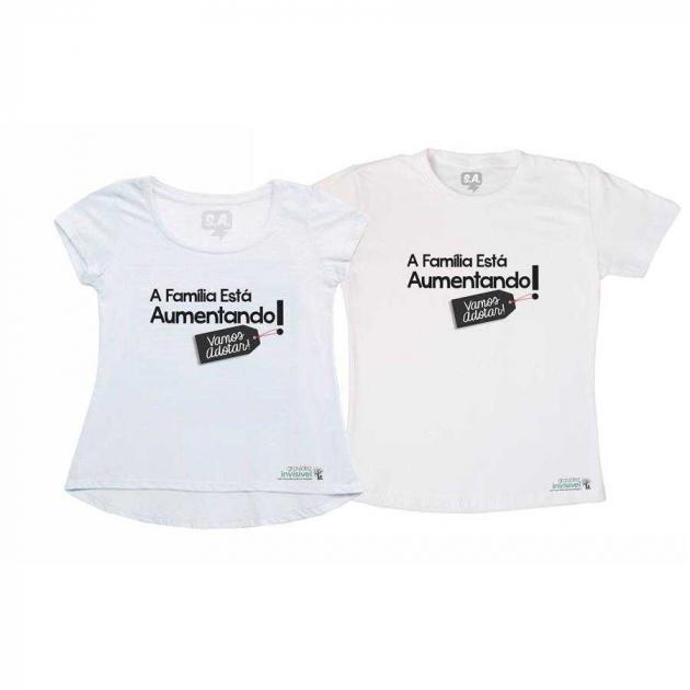 Kit Camisetas Casal Família Aumentando