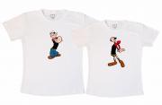 Kit Camisetas - POPEYE & OLIVIA PALITO BRANCA