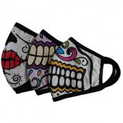 Kit com 3 Máscaras de Proteção Facial Reutilizáveis e Laváveis Caveiras Mexicanas