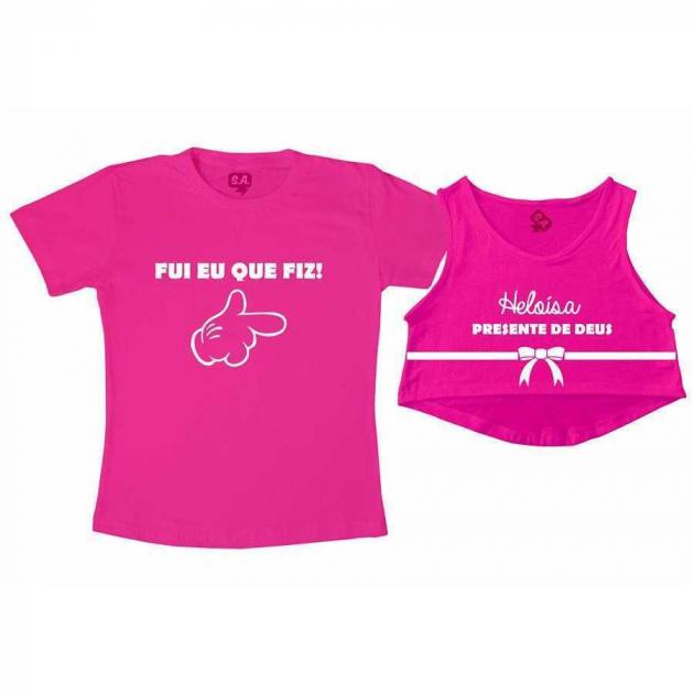 Kit Cropped Rosa e Camiseta Rosa - Eu que fiz