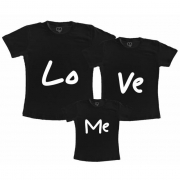 Kit Família Love Lo Ve Camiseta Preta 100% algodão