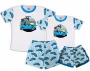 Kit Pijamas Casal  De Verão Fusca Azul