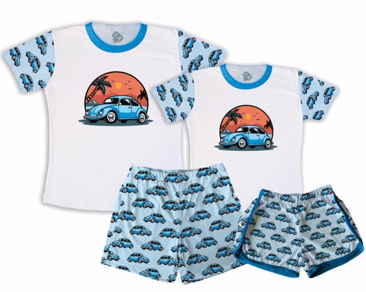 Kit Pijamas Casal  De Verão Fusca Céu Laranja