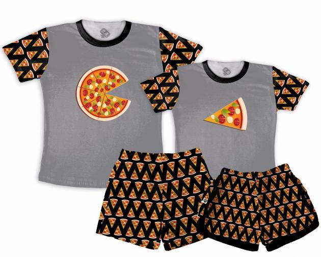 Kit Pijamas Casal  De Verão Pizza