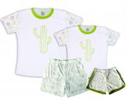 Kit Pijamas Casal  De Verão Tema Cactus