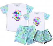 Kit Pijamas Casal  De Verão Tema Carnaval Em Casa