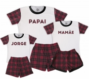 Kit Pijamas Família Temático de Natal - Xadrezinho Mamãe e Papai Masculino