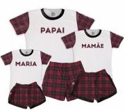 Kit Pijamas Família Temático de Natal - Xadrezinho Mamãe e Papai