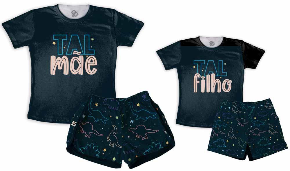 Kit Pijamas Tal Mãe, Tal Filho Dia Das Mães Dino