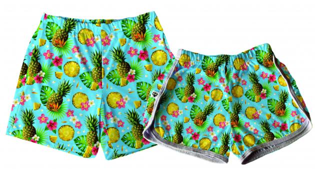 Kit Shorts Tactel Casal De Verão Abacaxi