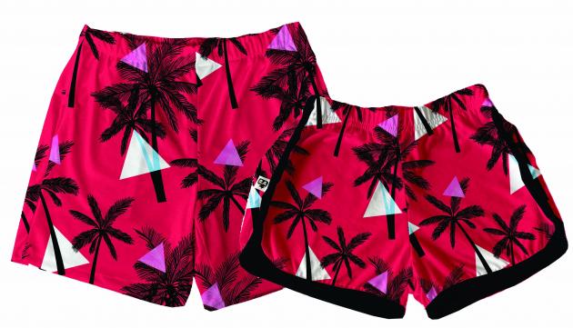Kit Shorts Tactel Casal De Verão Coqueiros Vermelhos
