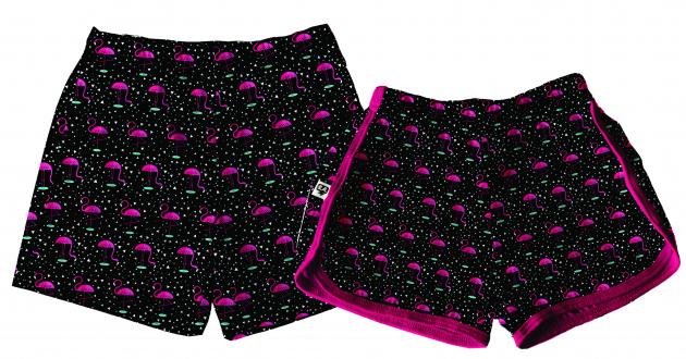 Kit Shorts Tactel Casal De Verão Flamingos
