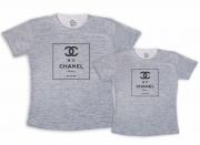 Kit Tal Mãe Tal Filha Chanel nº 5 Camiseta Cinza Mescla