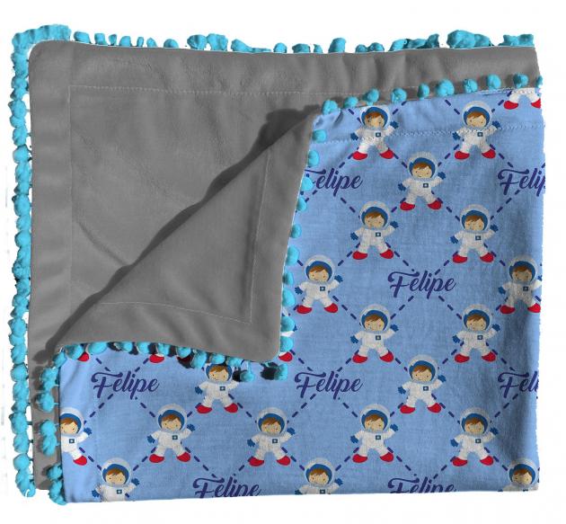 Manta Dupla Face Malha E Plush Personalizada Com Nome do Bebê Tema Nuvens Astronauta Azul