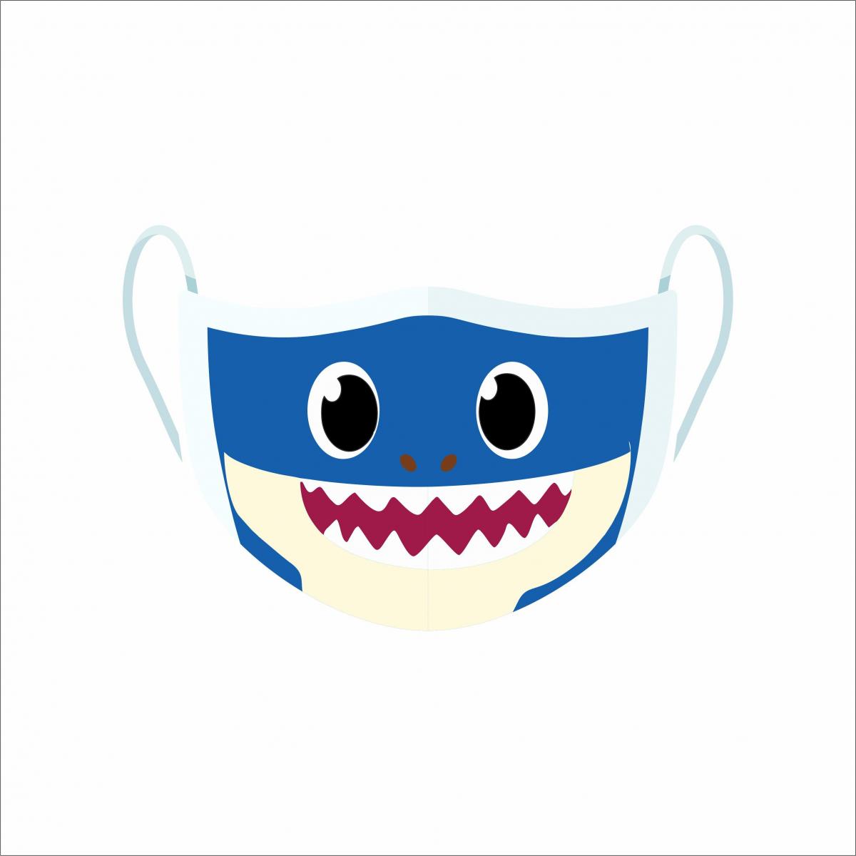 Máscara de Proteção Facial Reutilizável e Lavável Daddy Shark Azul