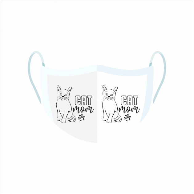 Máscara De Proteção Facial Reutilizável E Lavável Cat Mom