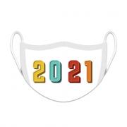 Máscara de Proteção Facial Reutilizável e Lavável Temática de Ano Novo 2021