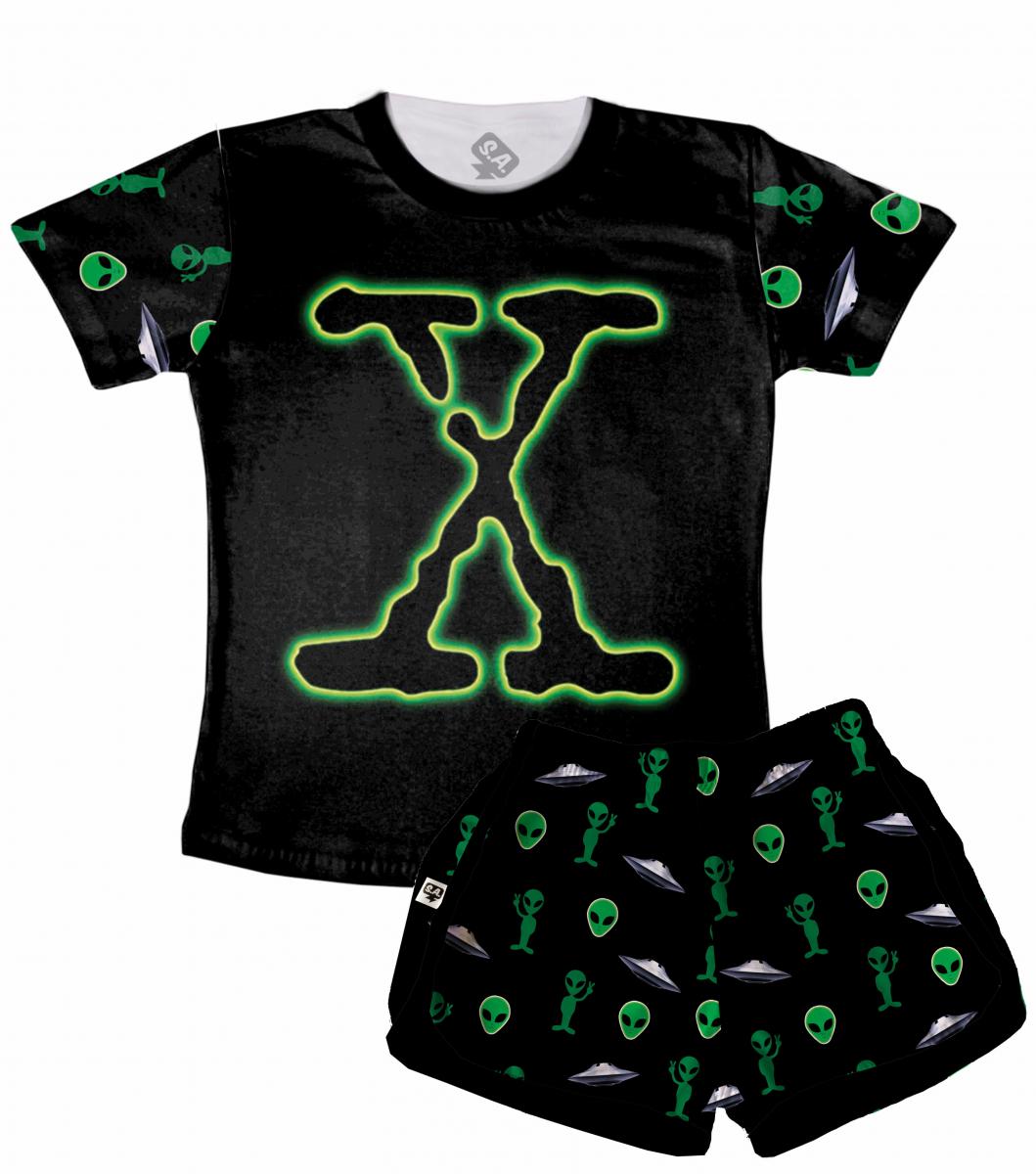 Pijama Feminino  Adulto Curto Arquivo X
