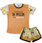 Pijama Feminino  Adulto Curto De Malha Tema Páscoa Esperança