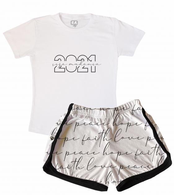 Pijama Feminino  Adulto Curto Temático De Ano Novo 2021 -Seja A Mudança