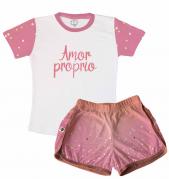 Pijama Feminino  Adulto Curto Temático de Ano Novo Amor Próprio