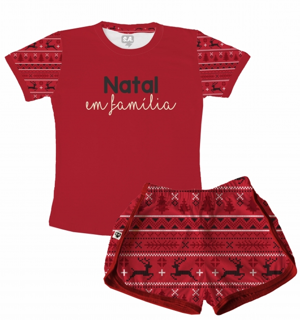 Pijama Feminino  Adulto Curto Temático de Natal - Natal em família