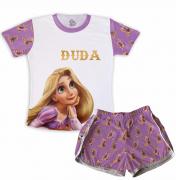 Pijama Feminino Infantil Malha Flamê Rapunzel