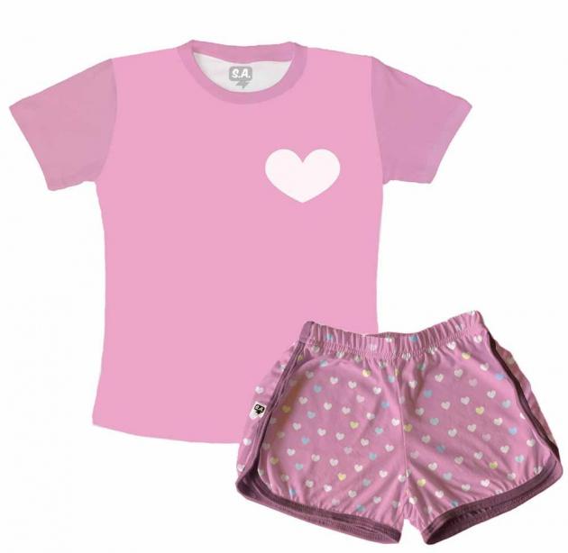 Pijama Feminino Infantil Malha Poa Rosa