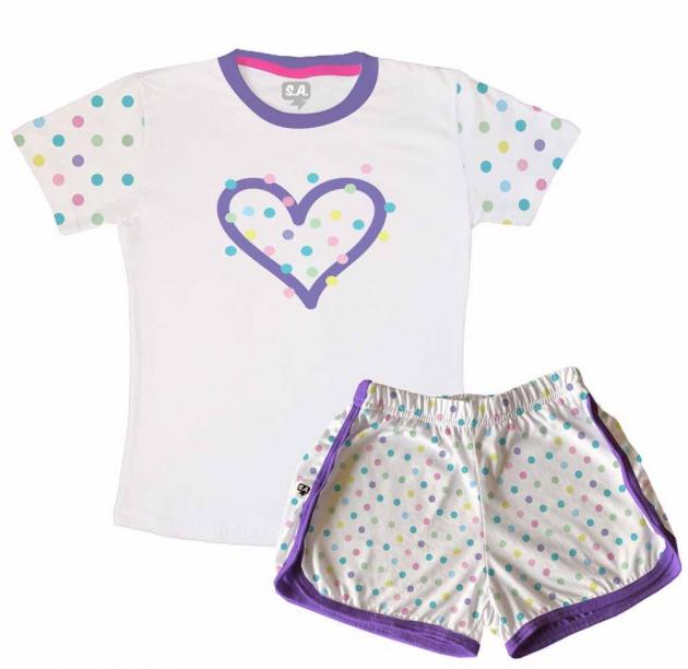 Pijama Feminino Infantil Malha Poa