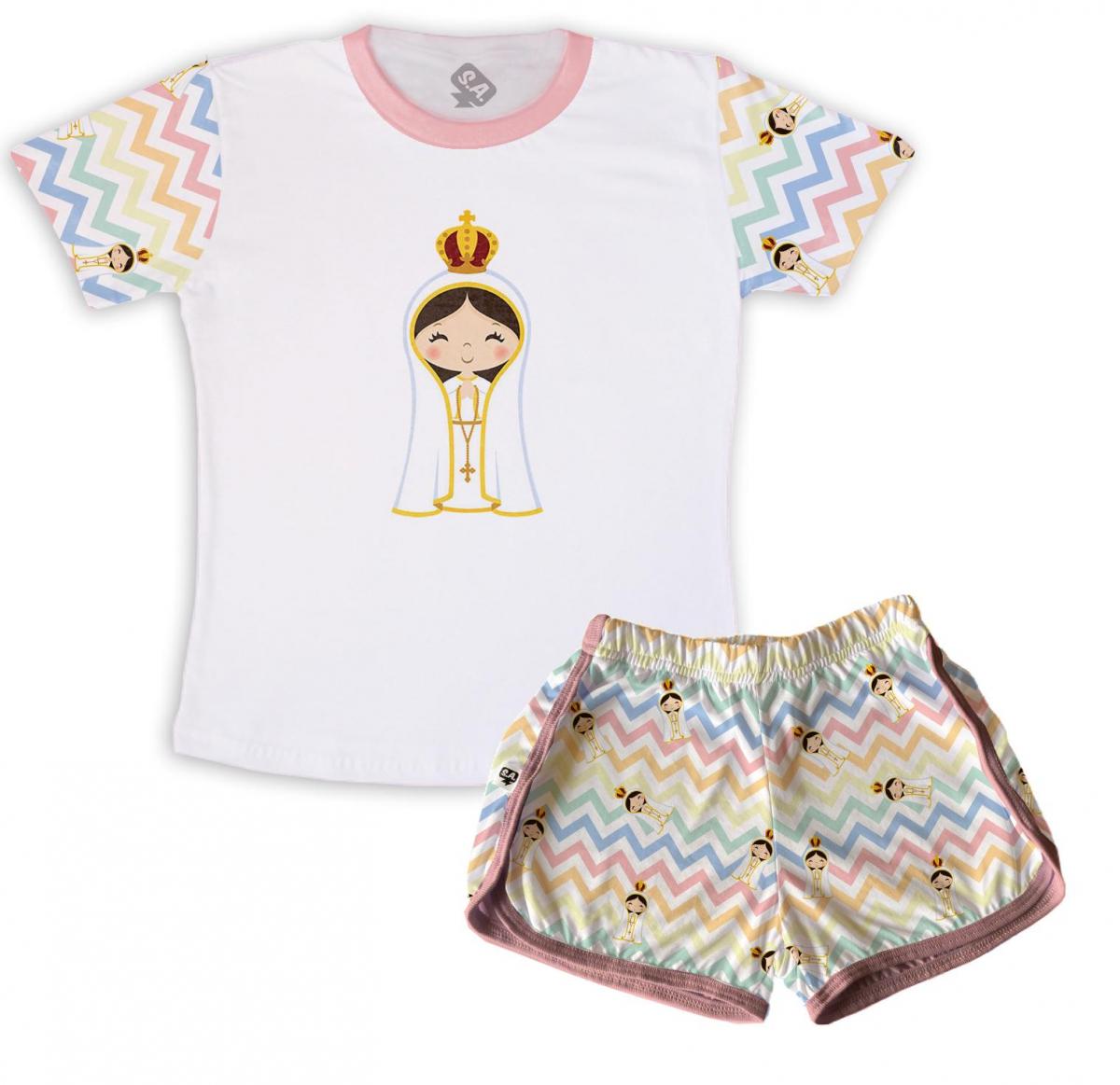 Pijama Feminino Infantil Malha Tema Nossa Senhora Aprecida