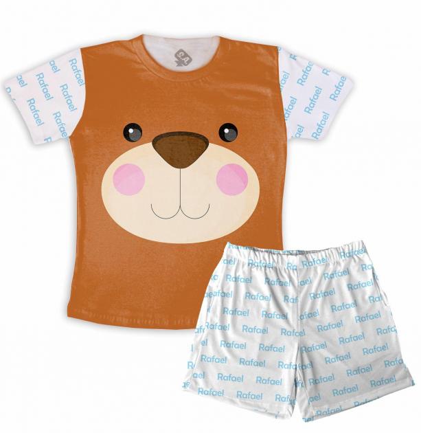 Pijama Infantil de Malha Masculino Urso Com Nome