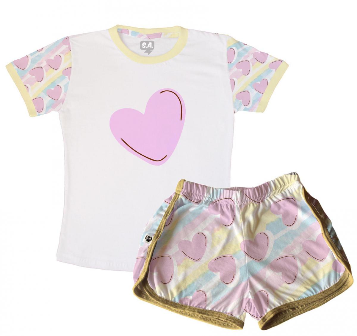 Pijama Infantil Malha Flamê Coração