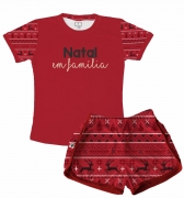 Pijama Feminino Infantil Malha Flamê Natal em Família