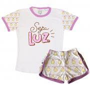 Pijama Feminino Infantil Malha Seja Luz