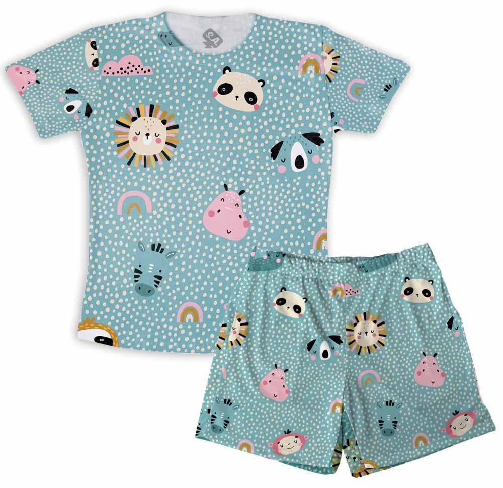 Pijama Masculino Infantil De Malha Animais